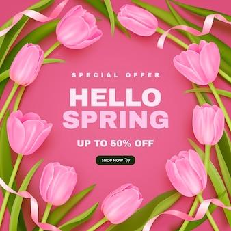 Fundo de venda de primavera com tulipas realistas