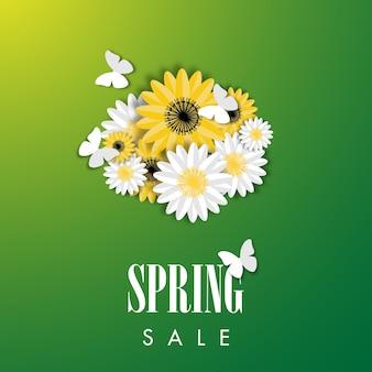 Fundo de venda de primavera com vetor de flor bonita