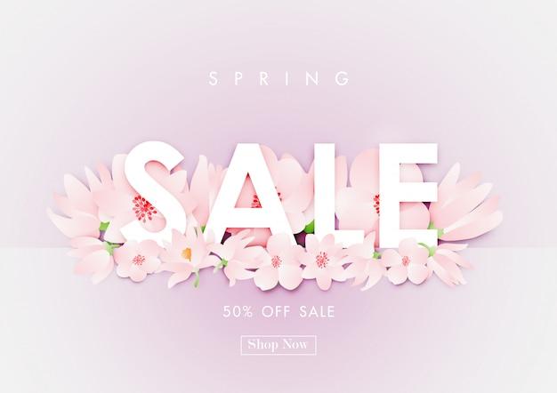 Fundo de venda de primavera com vetor de flor de cerejeira