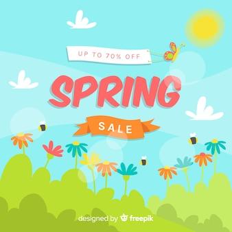 Fundo de venda de primavera de campo ensolarado