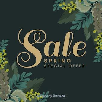 Fundo de venda de primavera de cantos de folhas