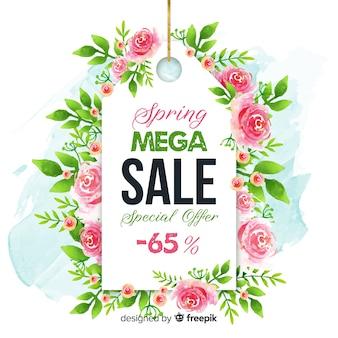 Fundo de venda de primavera de rótulo rosa