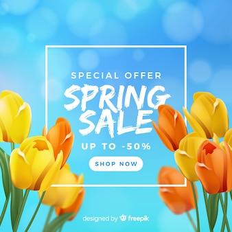 Fundo de venda de primavera turva