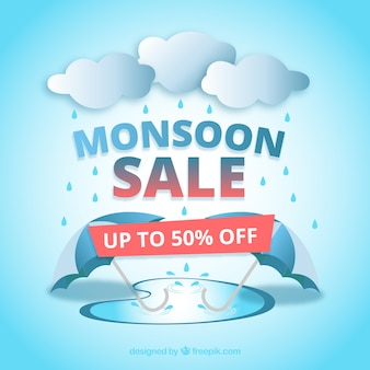 Fundo de venda de temporada de monção com guarda-chuva