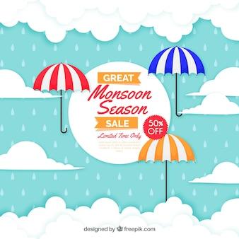 Fundo de venda de temporada de monção com guarda-chuvas