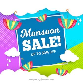 Fundo de venda de temporada de monção em estilo simples