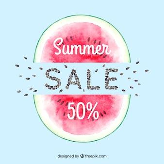 Fundo de venda de verão aquarela divertido e colorido