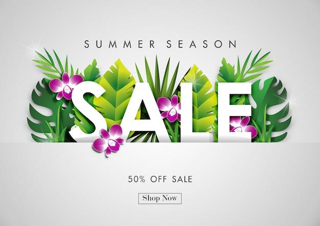 Fundo de venda de verão com arte de papel de design tropical