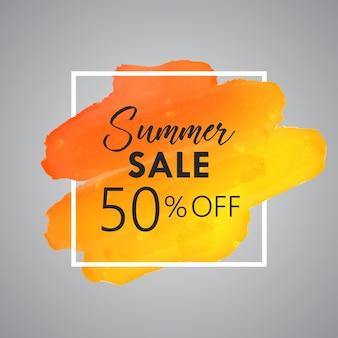 Fundo de venda de verão com detalhe de aquarela