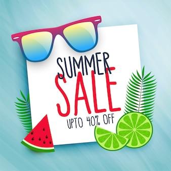 Fundo de venda de verão com elementos