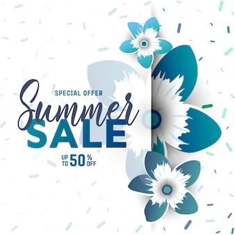 Fundo de venda de verão com flores.