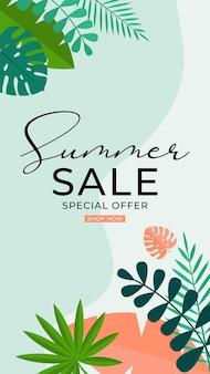 Fundo de venda de verão com folhas tropicais