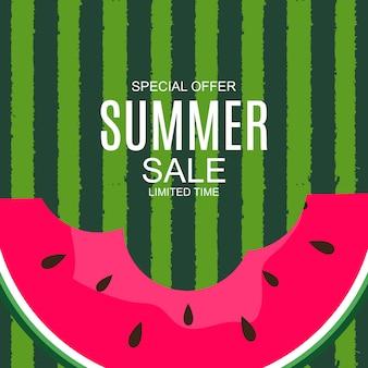 Fundo de venda de verão com melancia