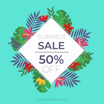 Fundo de venda de verão com plantas em estilo simples