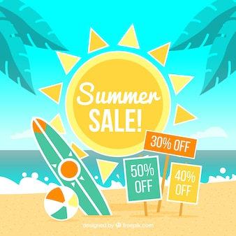 Fundo de venda de verão com praia