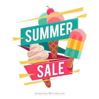Fundo de venda de verão com sorvete