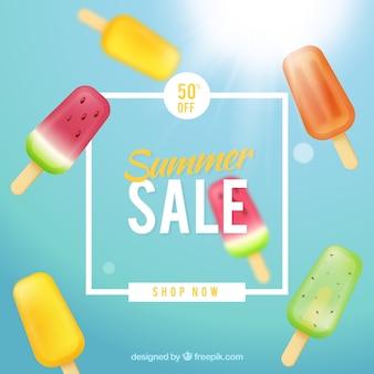 Fundo de venda de verão com sorvetes