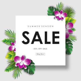 Fundo de venda de verão com vector design tropical