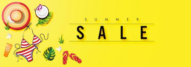 Fundo de venda de verão com vetor de acessórios de verão