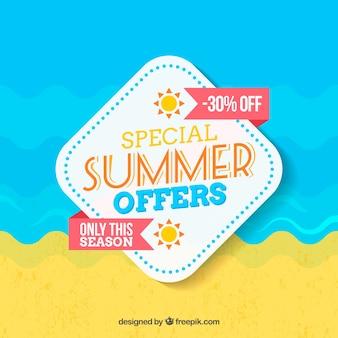Fundo de venda de verão em design plano