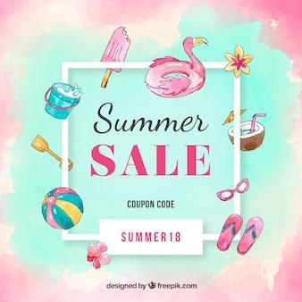 Fundo de venda de verão em estilo aquarela