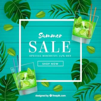 Fundo de venda de verão em estilo realista