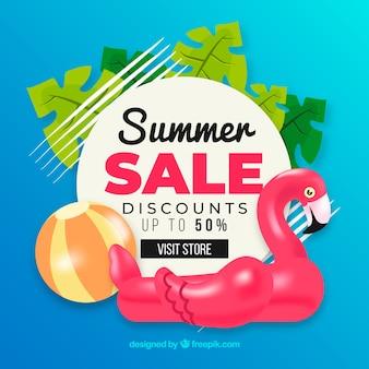 Fundo de venda de verão em estilo simples