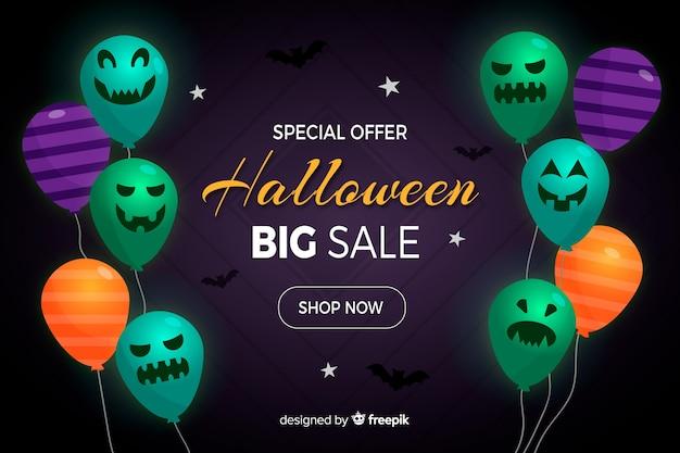 Fundo de venda do dia das bruxas com balões em design plano