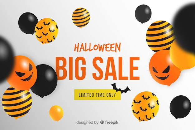 Fundo de venda do dia das bruxas com balões