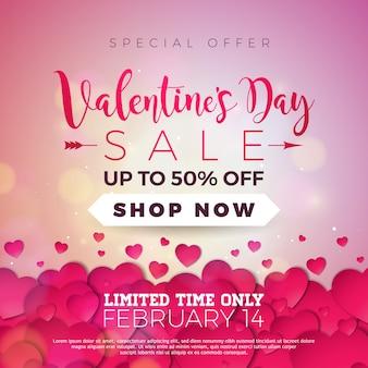 Fundo de venda do dia dos namorados com coração vermelho. oferta especial de vetores