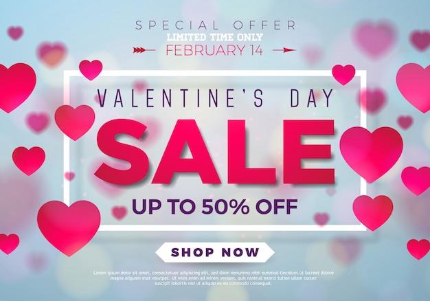 Fundo de venda do dia dos namorados com coração vermelho, oferta especial para casais