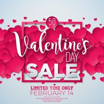 Fundo de venda do dia dos namorados com coração vermelho