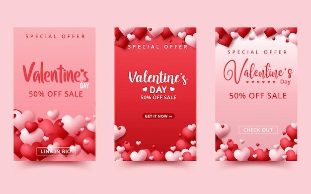 Fundo de venda do dia dos namorados. composição romântica com corações.