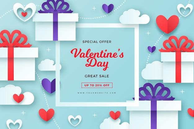 Fundo de venda do dia dos namorados em estilo papel