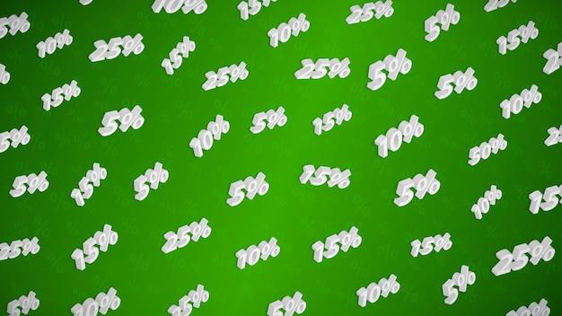 Fundo de venda e desconto com inscrições isométricas, branco sobre verde