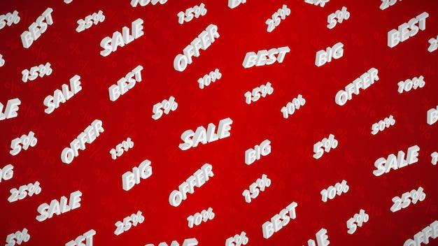Fundo de venda e desconto com inscrições isométricas, branco sobre vermelho