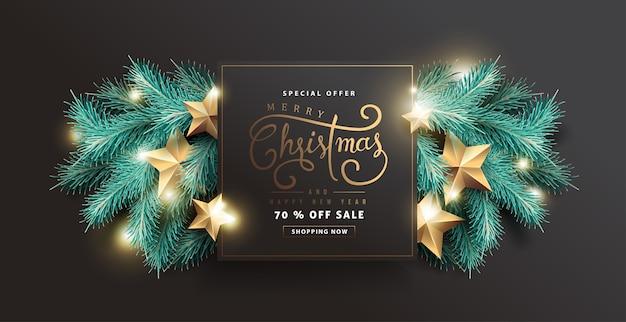Fundo de venda feliz natal Vetor Premium