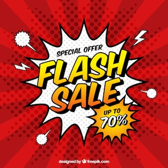 Fundo de venda flash em estilo cômico