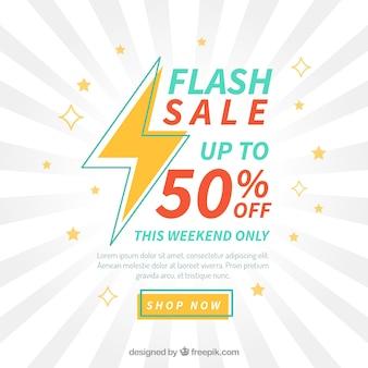 Fundo de venda flash em estilo plano