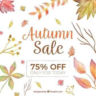 Fundo de venda outono com folhas de aquarela