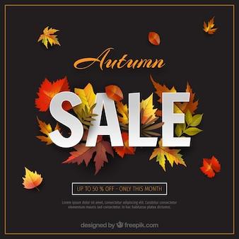 Fundo de venda outono com folhas realistas