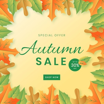 Fundo de venda outono design plano