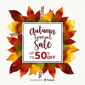 Fundo de venda outono em estilo aquarela