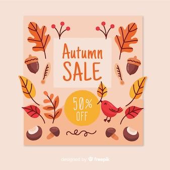 Fundo de venda outono mão desenhada