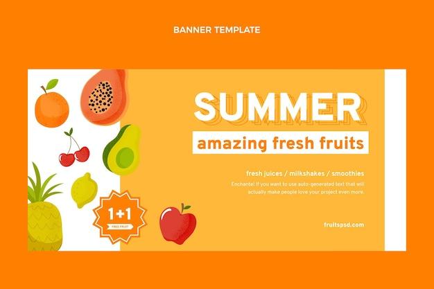 Fundo de venda plana de frutas saudáveis