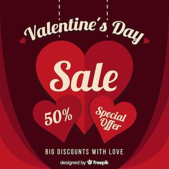 Fundo de venda plana dia dos namorados coração