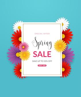 Fundo de venda primavera com lindas flores