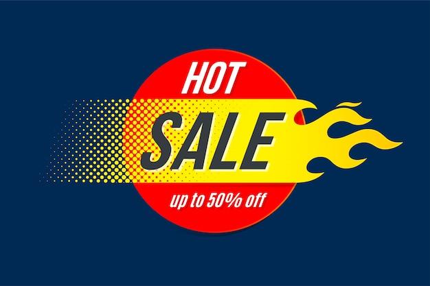 Fundo de venda quente com chama
