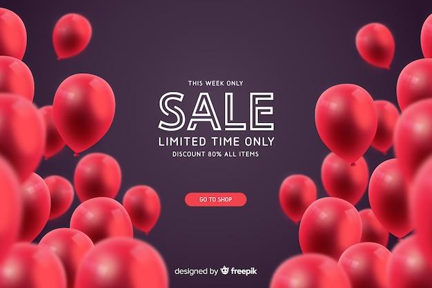 Fundo de venda realista com balões