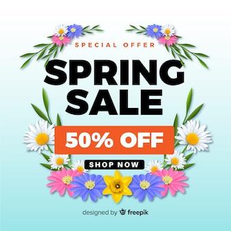 Fundo de venda realista da primavera